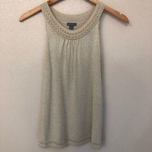Ann Taylor Gold Sleeveless Sweater